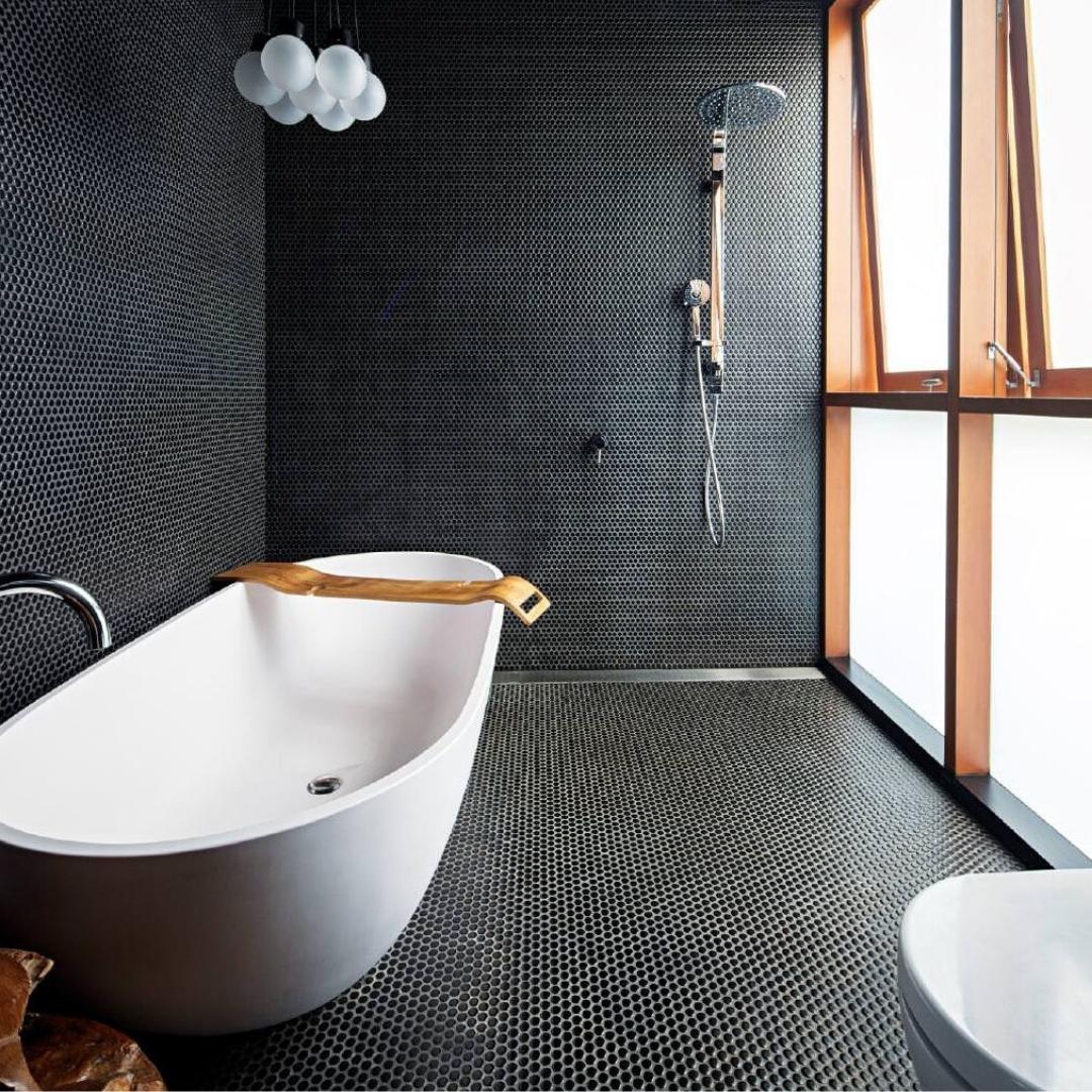 salle de bain tuiles hexagone